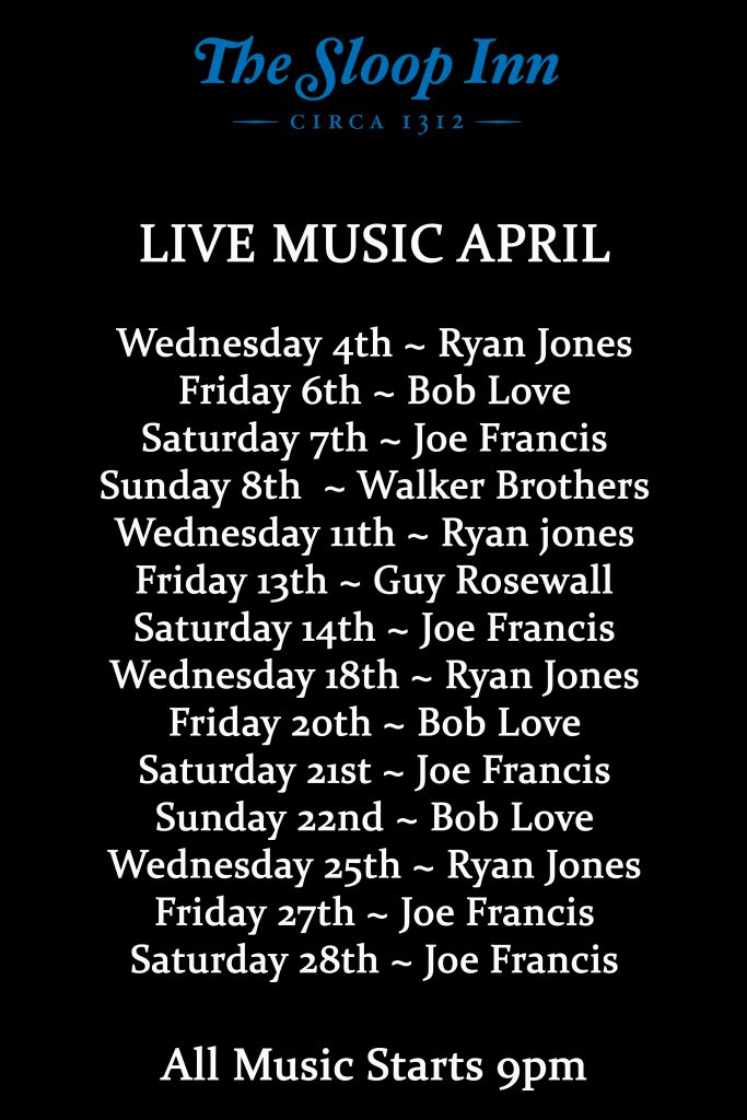 Live music in April at The Sloop