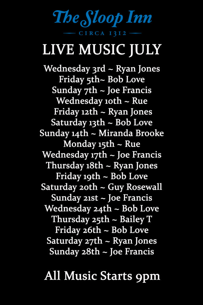 Live Music for July at The Sloop Inn